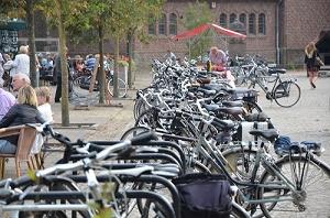 Een hele lange rij fietsen op het St.-Jansplein. (Foto: Paul Spapens)
